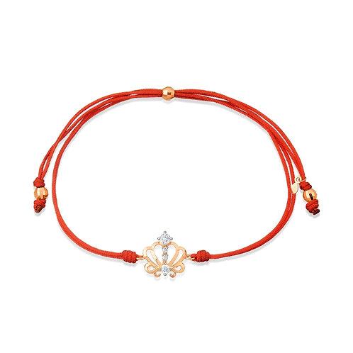 14 Ct Rose Gold Bracelet on Red Thread