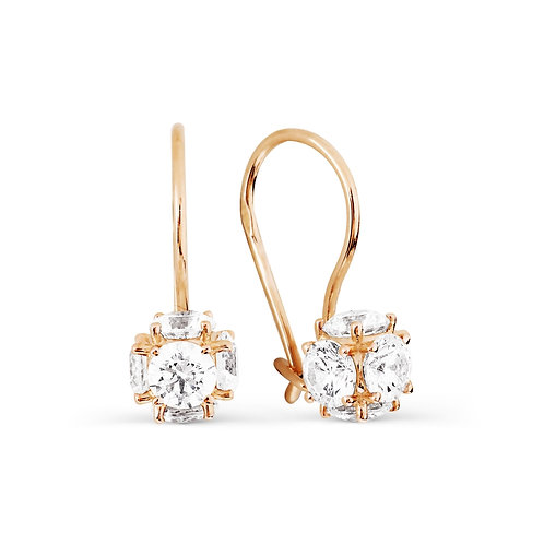 14 Ct Rose Gold Earrings with Crystal Swarovski