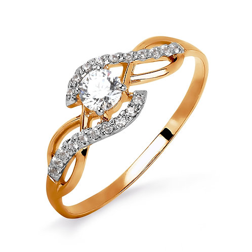 14 Ct Rose Gold Ring with Crystal Swarovski