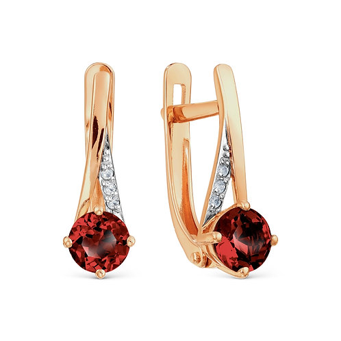 14 Ct Rose Gold Earrings with Garnet and Cubic Zircon