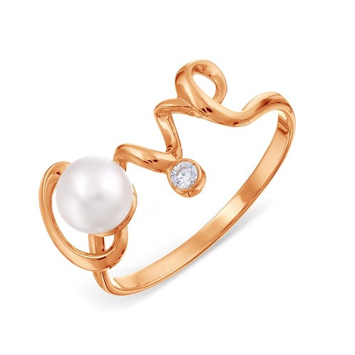 14 Ct Rose Gold Ring with White Pearl