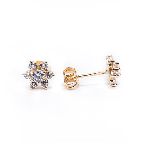 14 Ct Rose Gold Stud Earrings with Cubic Zircon