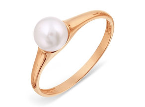 Gold ring with white pearl