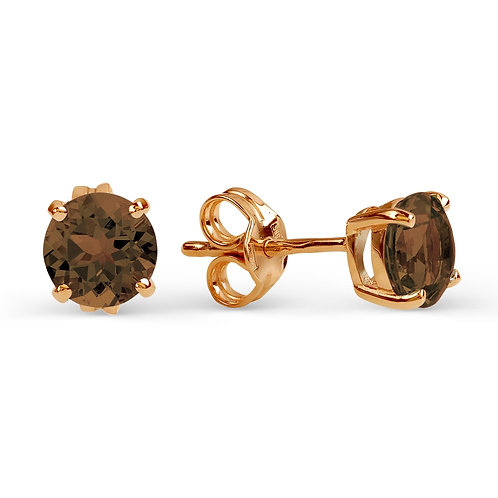 14 Ct Rose Gold Stud Earrings with Rauch topaz