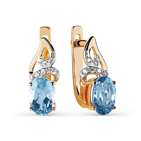 14 Ct Rose Gold Earrings with Diamond and Topaz