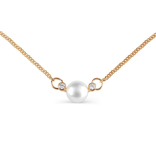 14 CT Rose Gold Necklace with White Pearl