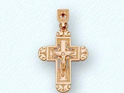 14 Ct Rose Gold Orthodox Cross