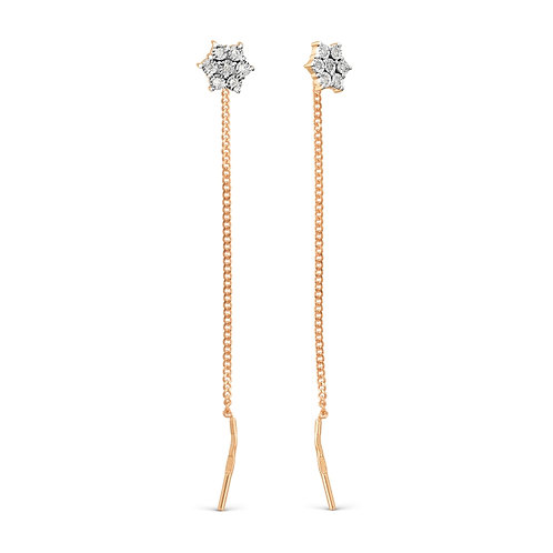 14 Ct Rose Gold Earrings Pull Through Threader Earrings with DiamondS