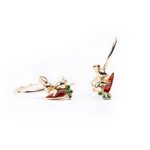14 Ct Rose Gold Earrings with Enamel