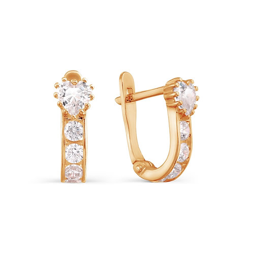 14 Ct Rose Gold Earrings with Cubic Zircon
