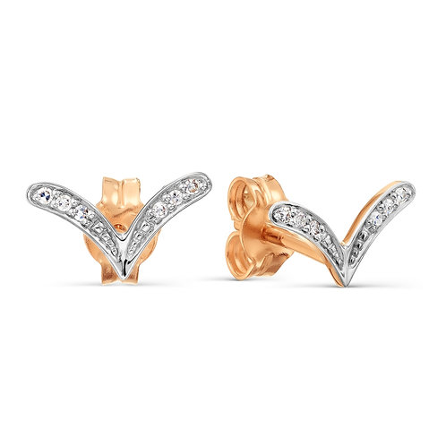 14 Ct Rose Gold  Stud Earrings with Diamonds