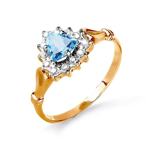 14 Ct Rose Gold Ring with Topaz and Cubic Zircon