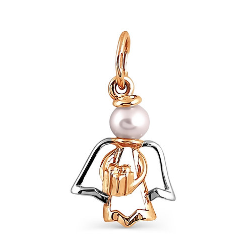 14 Ct Rose Gold Angel Pendant with White Pearl