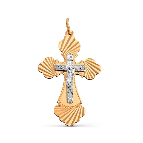14 Ct Rose Gold Orthodox Cross