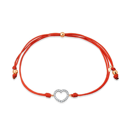 14 Ct Rose Gold Bracelet on Red Thread