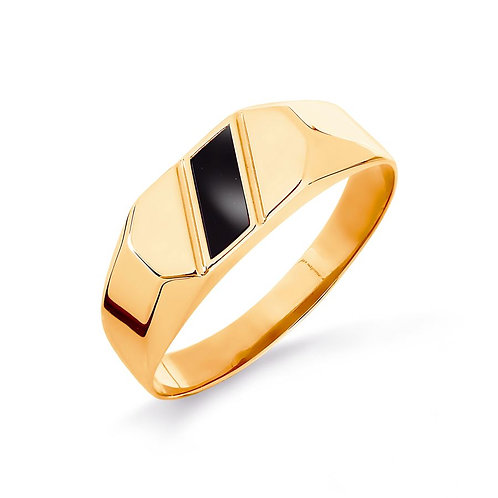 14 Ct Rose Gold Men's  ring with onyx stone