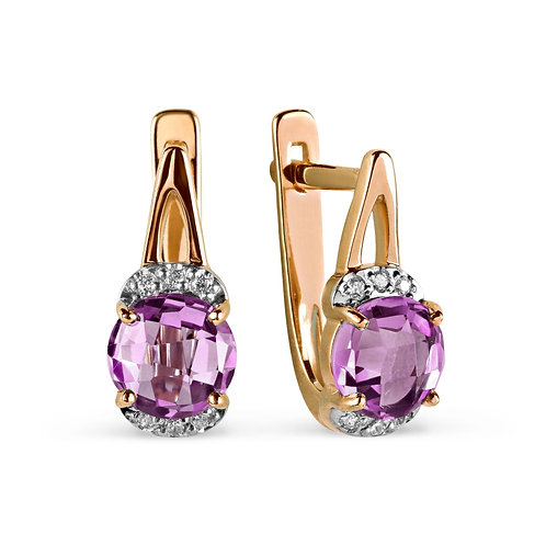 14 Ct Rose Gold Earrings with Amethyst