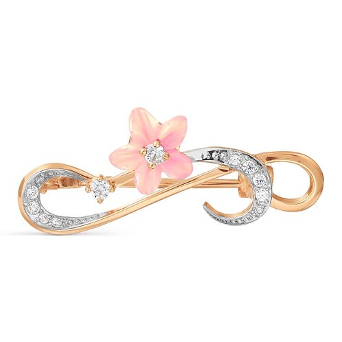 14 Ct Rose Gold Brooch with Pink Nacre Flower and Cubic Zircon