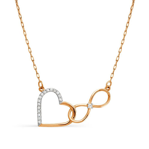 14 Ct Rose Gold Necklace with Diamond