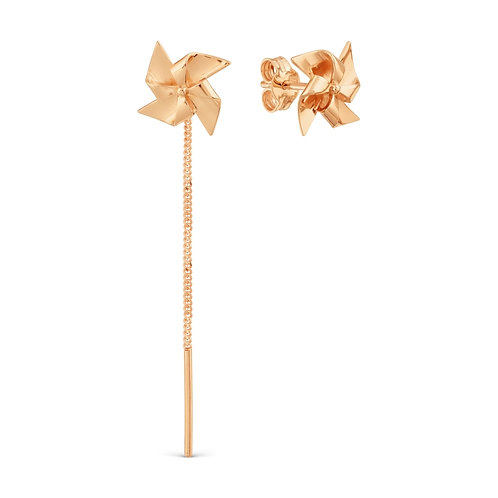 14 Ct Rose Gold 1 Stud and 1 Pull Through Threader Earring