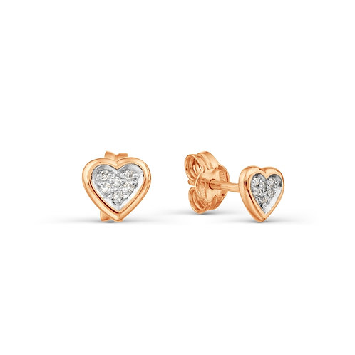 14 Ct Rose Gold Stud Earrings with Diamond