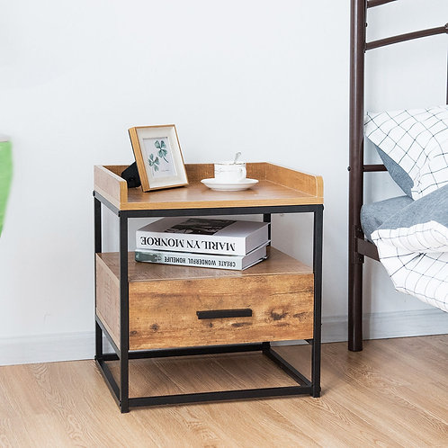 2-Tiers End Side Table with 1 Drawer