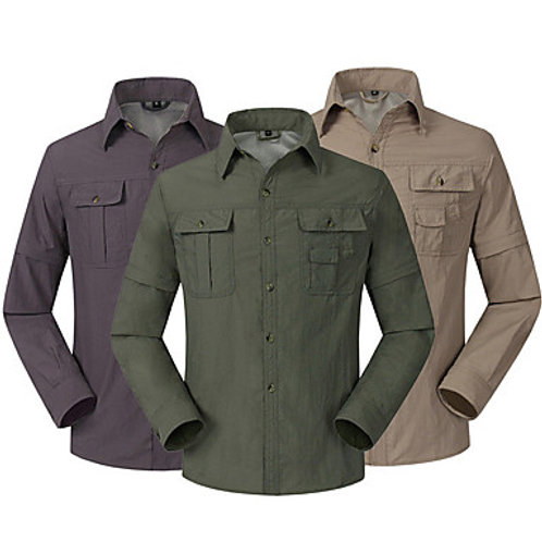 Men's Hiking Button Down Shirt UV Resistant Breathable Converts to Short Sleeves