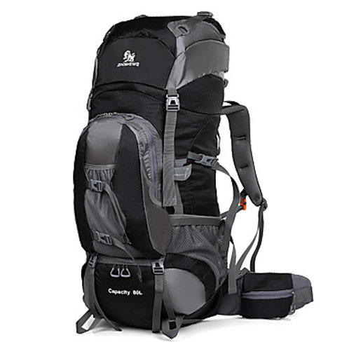 80 L Hiking Backpack w/ Breathable Straps Waterproof Reflective Trim
