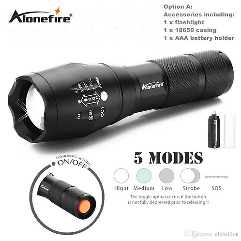 AloneFire G700/E17 Cree XML T6 5000Lm High Power LED Zoom Tactical LED Flashligh