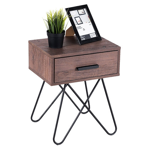 Nightstand Coffee Table Storage Display with Steel Legs and 1 Drawer