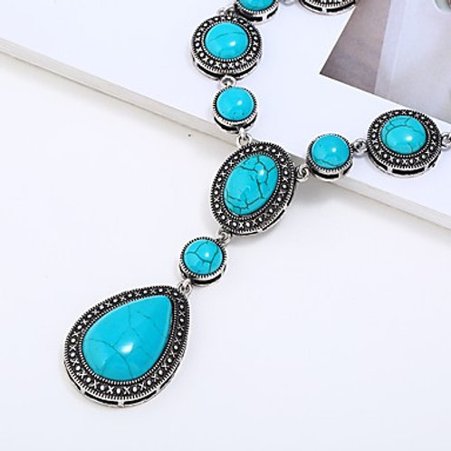 Women's Turquoise Drop Statement Necklace
