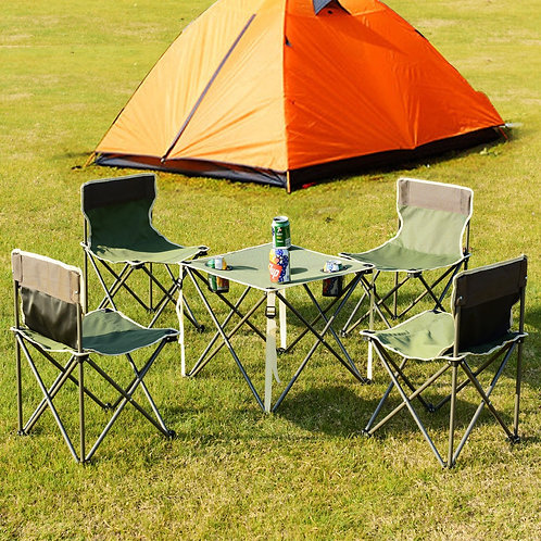 Outdoor Camp Portable Folding Table Chairs Set w/ Carrying Bag