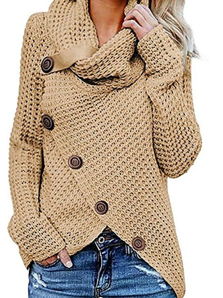 Women's Solid Colored Long Sleeve Pullover Sweater Jumper