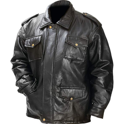 Giovanni Navarre® Italian Stone™ Design Genuine Leather Field Jacket