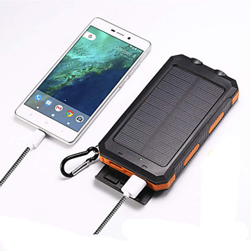 Solar Power Bank 10000m Portable Waterproof Dual USB Ports Battery Bank