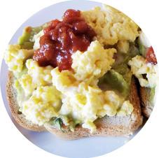 Salsa Eggs on Guac Toast