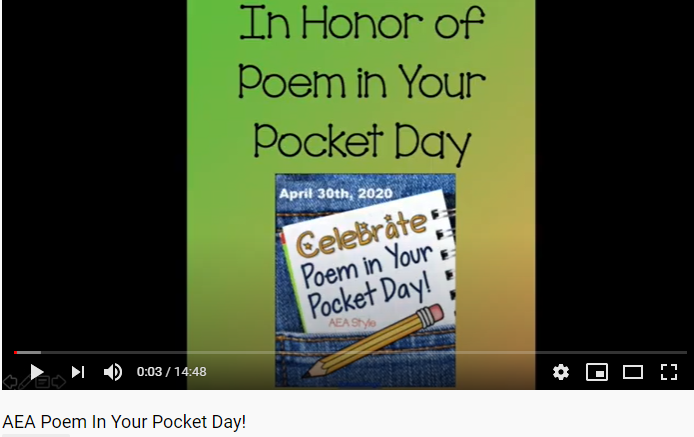 AEA Poem in Your Pocket Video