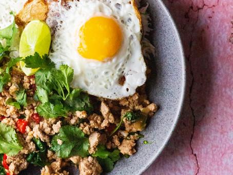 Thai style turkey mince stir fry with fried egg