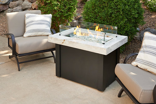 White Providence Rectangular Gas Fire Pit Table