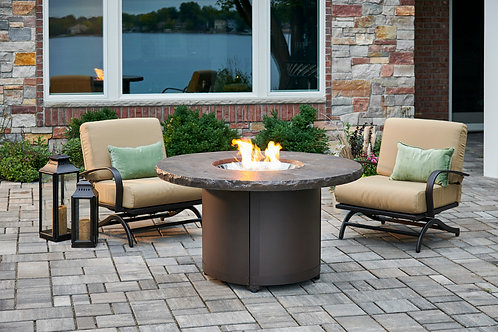 Marbleized Noche Beacon Round Chat Fire Pit Table