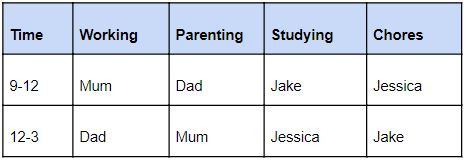 schedule example for family