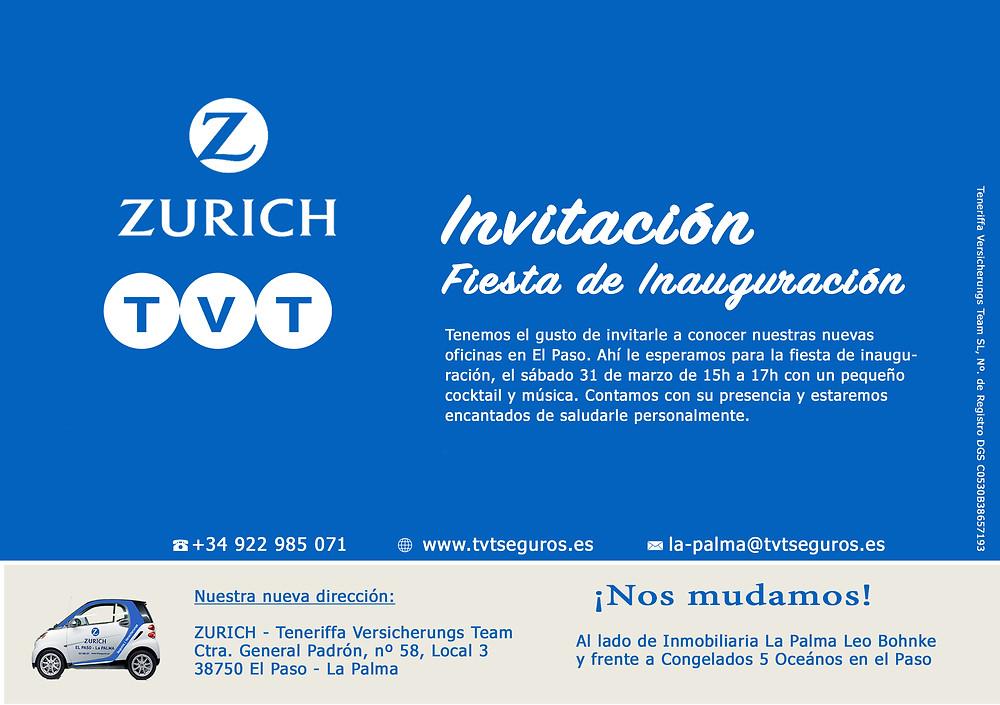 Seguros Zurich Invitación a Fiesta de Inauguración - Nueva Oficina en El Paso - La Palma