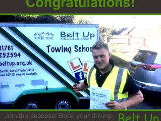 Congratulations to Tom Rogers on passing his B+E trailer test today with only TWO MINOR FAULTS. Well