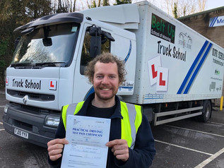 Thomas McGregor took and passed his class 2 test this morning. An early start was worth it for this