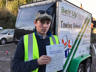Jack Mintram took and passed his car and trailer test today and passed it FIRST TIME.