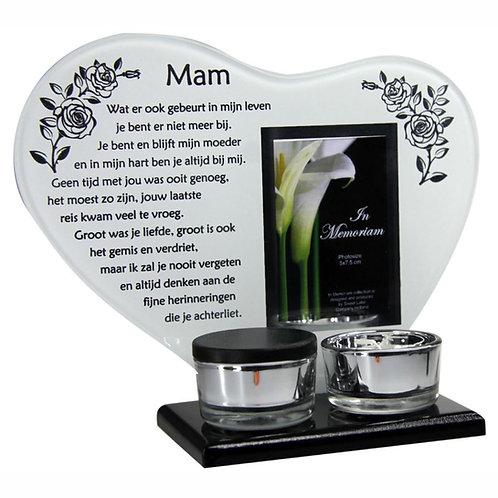 Waxinehouder met mini urn en gedicht: Mam...