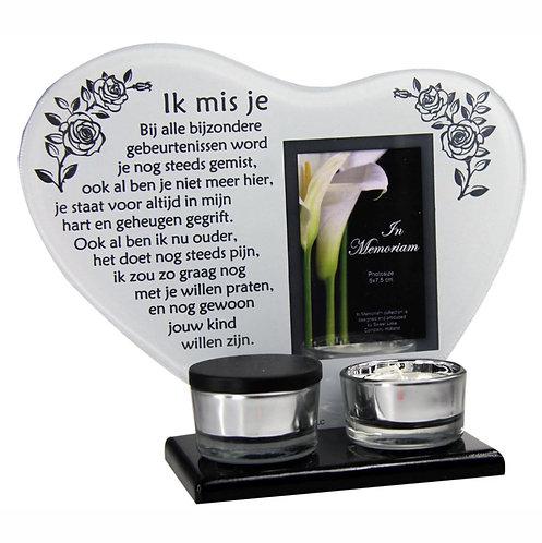 Waxinehouder met mini urn en gedicht: Ik mis je...