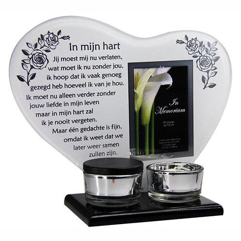 Waxinehouder met mini urn en gedicht: In mijn hart...