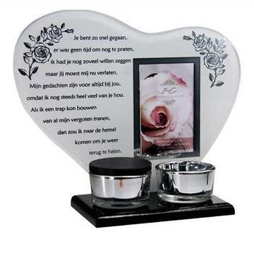 Waxinehouder met mini urn en gedicht: Je bent zo snel