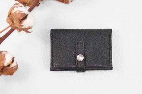 porte-cartes porte-monnaie noir grainé cuir maroquinerie artisanale fabrication française Atelier Antiope©